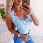 Womens Sleeveless Pearl Lace Vest Tank Tops Ladies Summer Casual Blouse Shirt AI