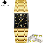 Men Watches Luxury Bracelets Gold Black Square Chronograph Date Water Resistance