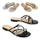 Womens Diamante Flat Sandals Ladies Strappy Summer Sliders Shoes Size