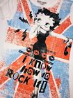 "Betty Boop T-Shirt JUNIOR GIRLS ""I Know How To Rock It"" British Flag Shirt TEE $10.99 USD on eBay"