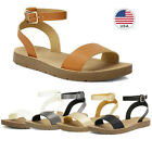 DREAM PAIRS Women's Cute Open Toes One Band Ankle Strap Summer Flat Sandals US