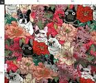 Frenchie Floral French Bulldog Dog Lover'S Fabric Printed by Spoonflower BTY