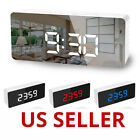 Alarm Clock Large Digital LED Display USB Snooze Table Clock Mirror Thermometer