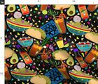 Mexican Food Chips Guac Salsa Beer Drinks Fabric Printed by Spoonflower BTY