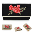 Womens Embroidered Clutch Bag Ladies Evening Prom Party Purse Floral Handbag UK