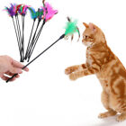 5pcs Cat Kitten Pet Teaser Turkey Feather Interactive Stick Toy Wire Chaser