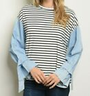 Women's Striped Top Denim Look Sleeves Loose Fit NEW SMALL & MEDIUM Spring