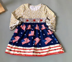 NEW Boutique Patriotic 4th of July Girls Long Sleeve US Flag Dress
