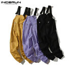 Mens Cargo Work Dungarees Overalls Loose Suspenders Trousers Jumpsuit Playsuits