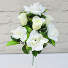 ARTIFICIAL SILK FLOWERS ROSE BUD / OPEN ROSE BUNCH 4 COLOURS Home Grave Outdoor