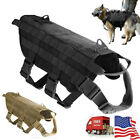 Tactical Dog Harness Nylon Training Patrol Service Dog Vest w/Handle