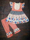 NEW Boutique Patriotic 4th of July Tunic Dress Ruffle Leggings Girls Outfit Set