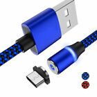 3~6FT LED 360° Magnetic Micro USB Type C Adapter Fast Charging Cable For Android