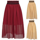 Women Vintage Chiffon Pleated Double Layer Skirt Long Elastic Waist Maxi Dress
