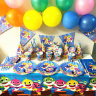 Hot Shark Party Banner Flag Decors Plate Tablecloth Balloon Baby Birthday Supply