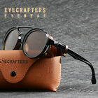 Mens Womens Sunglasses Vintage Steampunk Side Shields Leather Round Retro Shades