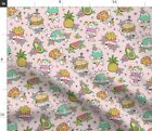 Tattoos Junk Food Pink Burger Donut Pizza Fabric Printed by Spoonflower BTY