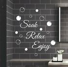 Soak Relax Enjoy Wall Stickers & Bubbles Decals Bathroom Home Art Decor