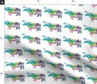 Hippo Hippopotamus Colorful Mixed Media Fabric Printed by Spoonflower BTY