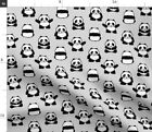 Panda Black And White Monochrome Cute Baby Fabric Printed by Spoonflower BTY