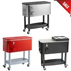 65 Qt. Ice Bin Chest Cooler Mobile Patio Rolling Party Cart Beer Beverage COLORS