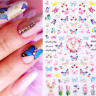 3d Nail Stickers Butterfly Flowers Transfer Metal Stripe Decals Nail Art Decors