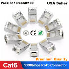 100pcs CAT6 Shielded EZ RJ45 Pass Through Modular Plug Cable Connector End 8P8C