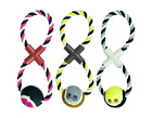 Figure 8 Rope & Tennis Ball Dog Toy Throw Tug Pull Puppy Fun Exercise Teething
