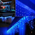 US BLUE LED Fairy String Hanging Icicle Snowing Curtain Light Wedding Xmas Party