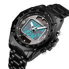 Solar&Quartz Men's Watches Stainless Steel Waterproof Analog&Digital Sport Watch