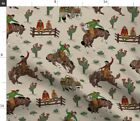 Western Cowboy Vintage Bronco Horse Chuckwagon Fabric Printed by Spoonflower BTY