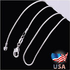 "Lot 10pcs Wholesale 925 Sterling Solid Silver 1mm Snake Chain Necklace 16-30"" U7"