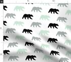 Bear Multi Colored Woodland Mint Baby Boy Fabric Printed by Spoonflower BTY