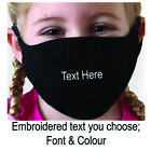 Face Mask UK Personalised Eco, Childs, Washable Re-Usable, Any Text,Embroidered