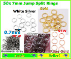 50 X Split And Jump Ring Rings 7mm Gold Or Silver Jewellery Diy Round Open