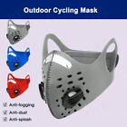 Cycling Sport Face Mask With Active Carbon Filters Breathing Valves Washable US