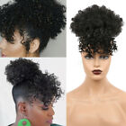 Short Afro Kinky Curly Ponytail with Bangs Synthetic Clip in Puff Bun Drawstring