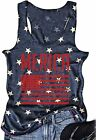 FAYALEQ Women Tank Tops American Flag Print Sleeveless T-Shirts Tees Casual Vest
