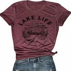 Lake Life T Shirt Women Cute Funny Graphic Tees Casual Short Sleeve Tops Summer