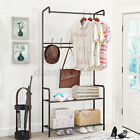 Clothes Coat Rack Stand Vintage Antique Hall Tree with Shoe Bench Hooks Entryway