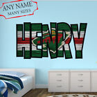 Minnesota Wild Wall Decal Art Custom Name Sticker Hockey Kids Mural NL26 $36.95 USD on eBay