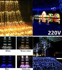 3X3M 320 Led Curtain Icicle Waterfall Meteor Shower Rain String Light 220V 8Mode