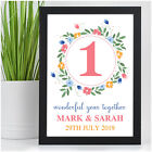 Cute Gifts for Girlfriend Boyfriend PERSONALISED 1 Year Together Wall Art Print