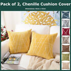 Pack of 2 Geo Striped Soft Chenille Cushion Cover Throw Pillow Case Home Decor