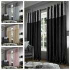 Blackout Crushed Velvet Band Curtains Eyelet Faux Silk Fully Lined Ring Top Pair
