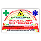 Face Mask Covering Exemption Card Child Disability Exempt Adult Child Travel ID