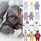 Newborn Toddler Baby Girl Boys Soft Hooded Romper Jumpsuit Outfit Hoodie Clothes