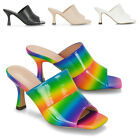 New Womens Low Heel Stiletto Mules Slip On Shoe Ladies Open Toe Sandals Size 3-8