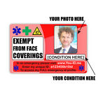 Face Mask Covering Exempt Card, Exemption Photo Medical ID, Lanyard Holder Strap
