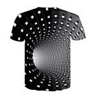 Men Women Short Sleeve Tee-Tops 3D Swirl Print Optical illusion Hypnosis T-Shirt